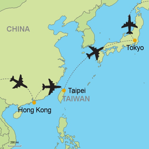 Hong kong taipei tokyo customizable itinerary from asia map hong kong taipei tokyo gumiabroncs Choice Image