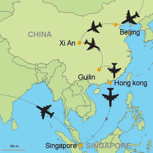 Beijing xian guilin hong kong bangkok singapore map beijing xian guilin hong k singapore gumiabroncs Gallery