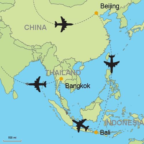 Beijing bali bangkok customizable itinerary from asia map beijing bali bangkok gumiabroncs Choice Image