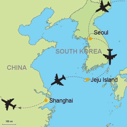 Seoul jeju island shanghai customizable itinerary from asia map seoul jeju island shanghai gumiabroncs Image collections