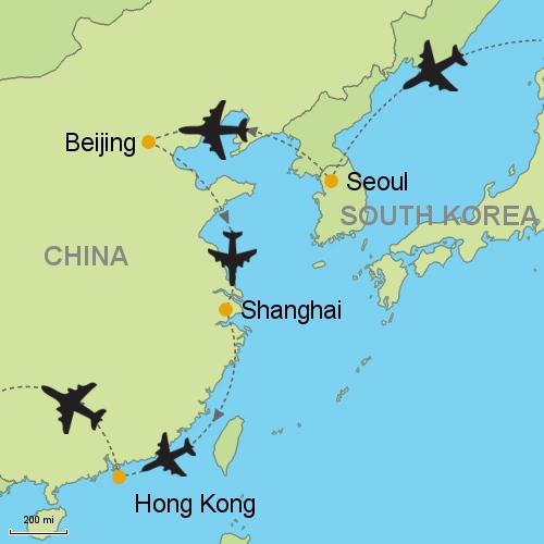Seoul beijing shanghai hong kong customizable itinerary from map seoul beijing shanghai hong kong gumiabroncs Gallery