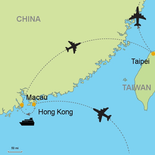 Hong kong macau taipei customizable itinerary from asia map hong kong macau taipei gumiabroncs Choice Image