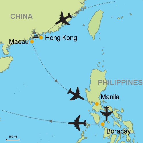 Hong kong macau manila boracay customizable itinerary from map hong kong macau manila boracay gumiabroncs Images