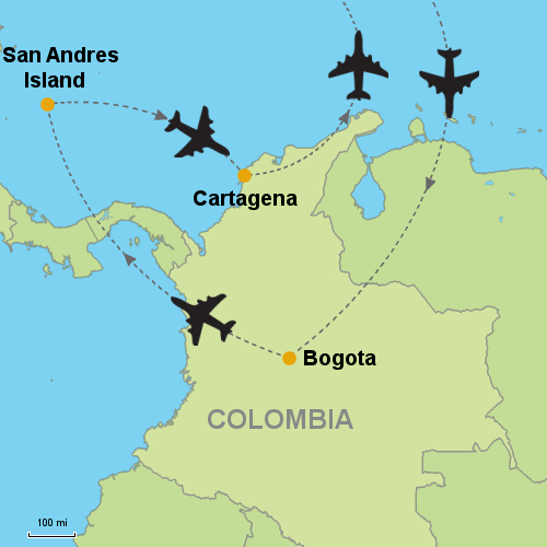 San Andres Colombia Map Bogota   San Andres Island   Cartagena  Customizable Itinerary