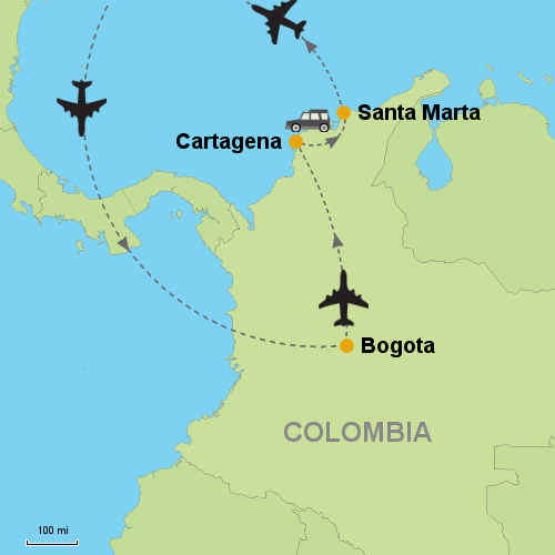 Bogota - Cartagena - Santa Marta on cabo de la vela map, port-au-prince map, armenia map, vancouver british columbia map, la paz map, cartagena map, maputo map, hanoi map, uyuni salt flats map, salento colombia map, caracas map, moscow map, pereira map, guatape map, florencia map, oslo map,