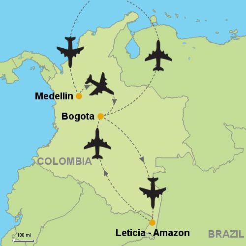 Medellin Bogota Leticia Amazon Customizable Itinerary from