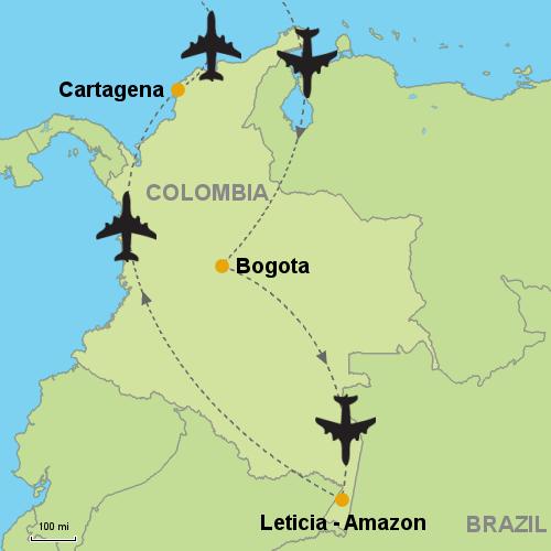 Bogota Leticia Amazon Cartagena Customizable Itinerary From - Cartagena de indias map
