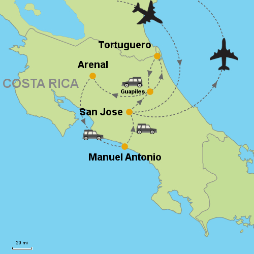 Manuel Antonio Costa Rica Map Tortuguero   Arenal Volcano   Manuel Antonio  Customizable Itinerary