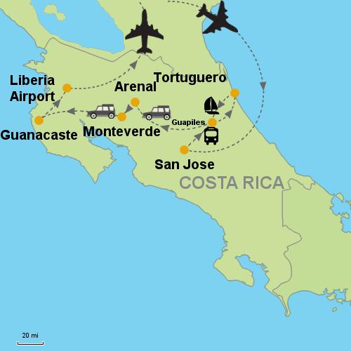 Tortuguero - Arenal Volcano - Monteverde - Guanacaste Beaches ...