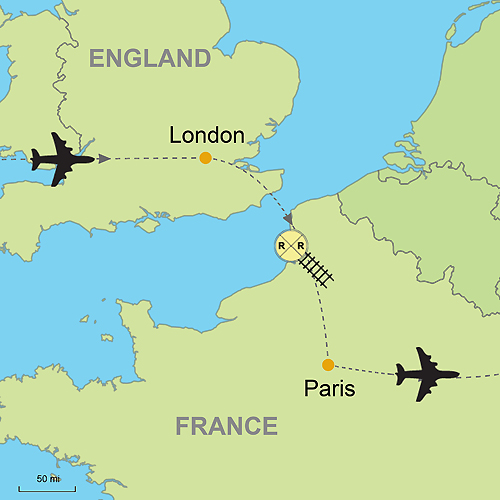 England And London Map.London And Paris With The Eurostar