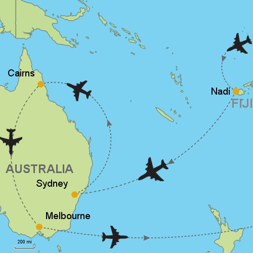 Fiji sydney cairns melbourne customizable itinerary from asia fiji sydney cairns melbourne map gumiabroncs