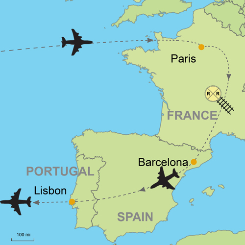 Map Of France With Paris.Paris Barcelona And Lisbon
