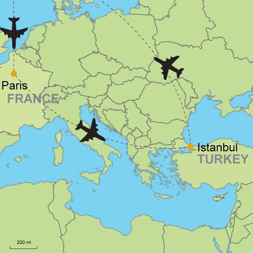 Karte Paris.Paris And Istanbul By Air