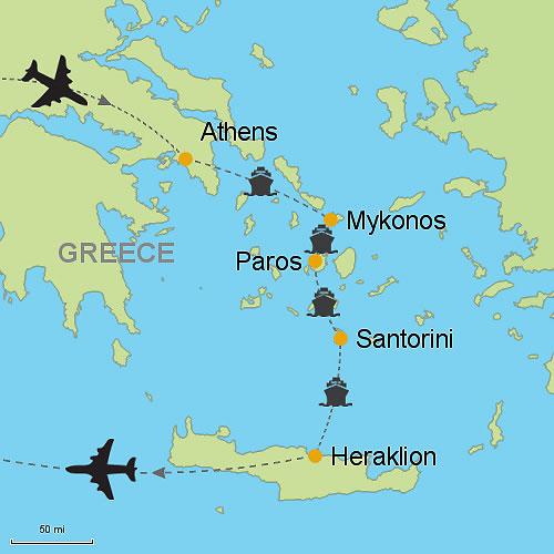 Athens Mykonos Paros Santorini Heraklion Crete