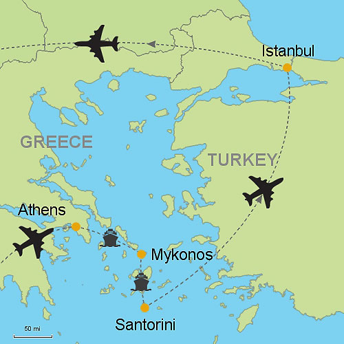 Athens Mykonos Santorini and Istanbul Customizable Itinerary