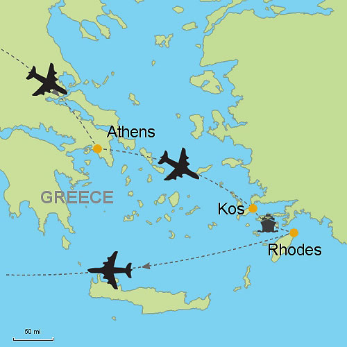 Rhodes Island Greece Map.Athens Kos Island And Rhodes Island Customizable Itinerary From