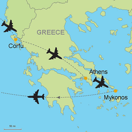 Corfu Athens and Mykonos by Air Customizable Itinerary from