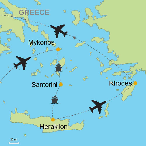 Mykonos Santorini Heraklion Crete Rhodes Customizable