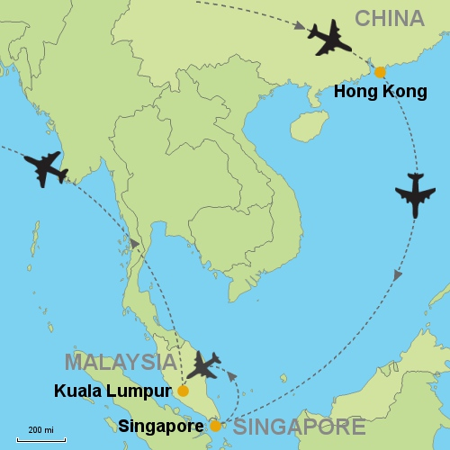 Hong kong singapore kuala lumpur customizable itinerary from map hong kong singapore kuala lumpur gumiabroncs Images