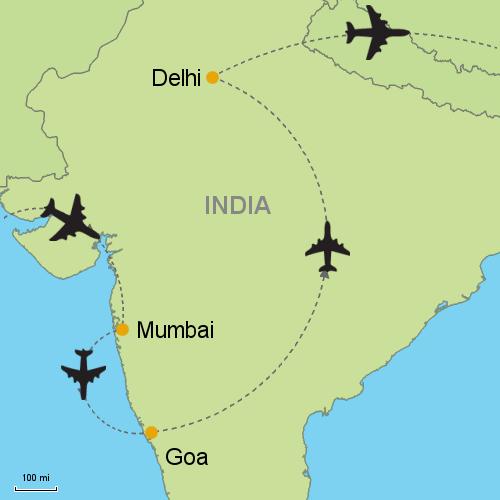 Mumbai goa delhi customizable itinerary from asiaipmasters map mumbai goa delhi gumiabroncs Gallery