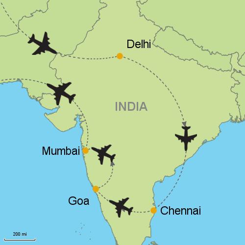 Delhi chennai goa mumbai customizable itinerary from asia map delhi chennai goa mumbai gumiabroncs Gallery