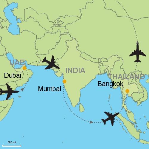 Dubai Mumbai Bangkok Customizable Itinerary from Asia