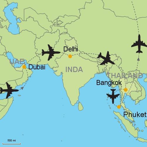 Dubai delhi bangkok phuket customizable itinerary from asia map dubai delhi bangkok phuket gumiabroncs Image collections