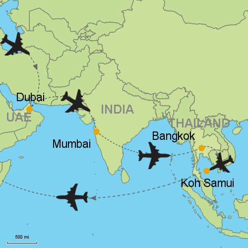 Dubai mumbai bangkok koh samui customizable itinerary from map delhi mumbai bangkok ko samui gumiabroncs Choice Image