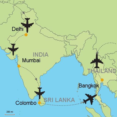 Delhi Mumbai Colombo Bangkok Customizable Itinerary from Asia