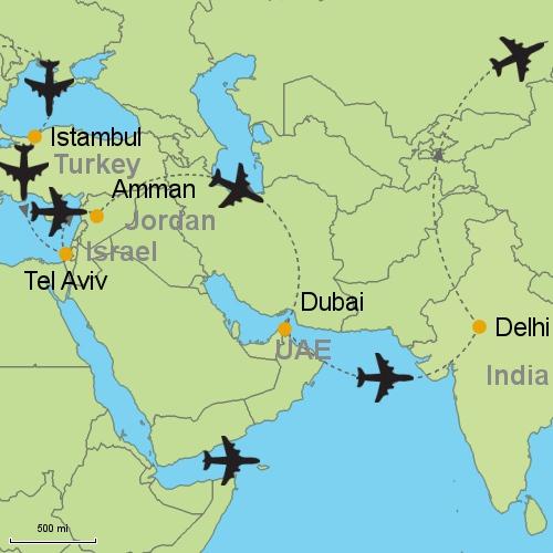 Tel Aviv Middle East Map.Istanbul Tel Aviv Amman Dubai Delhi Customizable Itinerary