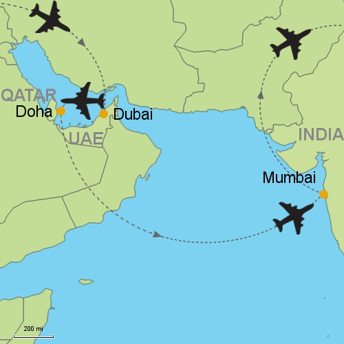 Dubai doha mumbai customizable itinerary from asiaipmasters map dubai doha mumbai gumiabroncs Images