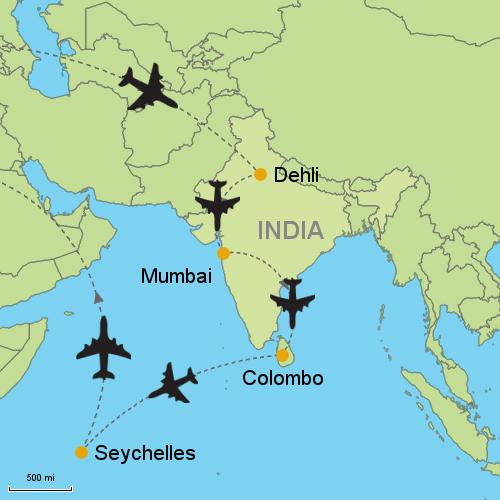 Delhi Mumbai Colombo Seychelles Customizable Itinerary From - Map of seychelles world