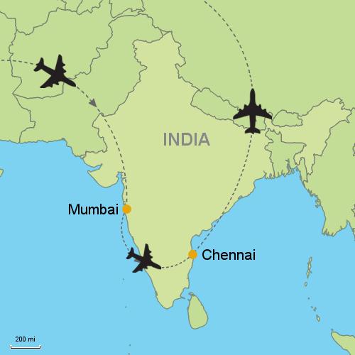 India Map Asia.Mumbai Chennai Madras Relitin 119063 Customizable Itinerary From