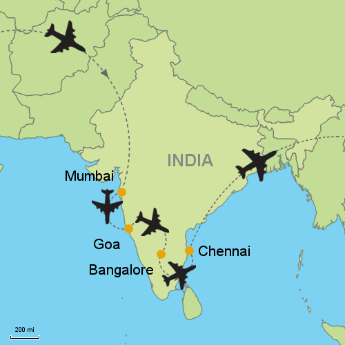 Mumbai goa bangalore chennai customizable itinerary from map mumbai goa bangalore chennai gumiabroncs Image collections