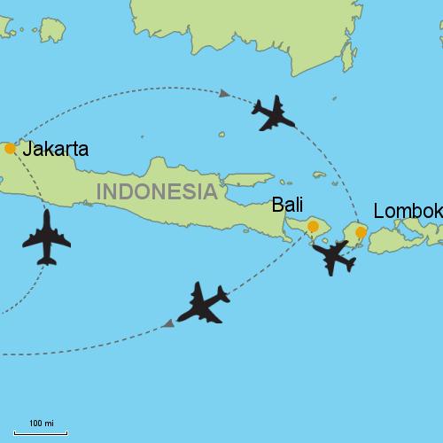 Jakarta lombok bali customizable itinerary from asiaipmasters map jakarta bali lombok gumiabroncs Image collections
