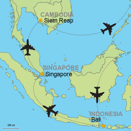 Map Bali Singapore Siem Reap