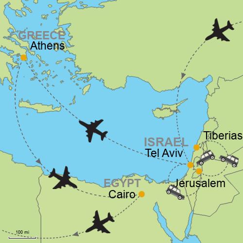 Tel Aviv - Jerusalem - Tiberias - Athens - Cairo Customizable ...