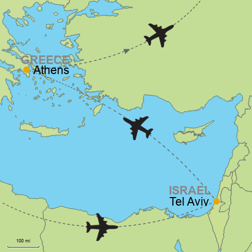 Tel aviv athens customizable itinerary from asiaipmasters map tel aviv athens gumiabroncs Choice Image