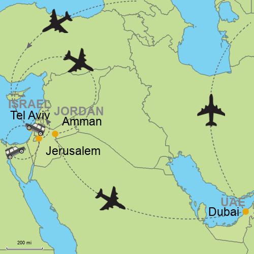 Map Of Asia Dubai.Tel Aviv Jerusalem Amman Dubai