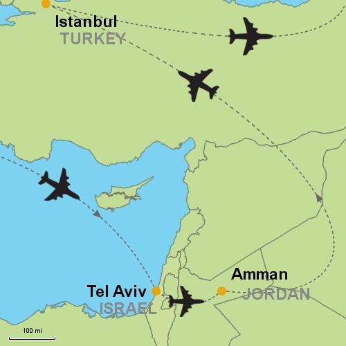 Tel aviv amman istanbul customizable itinerary from asia map tel aviv amman istanbul gumiabroncs Choice Image