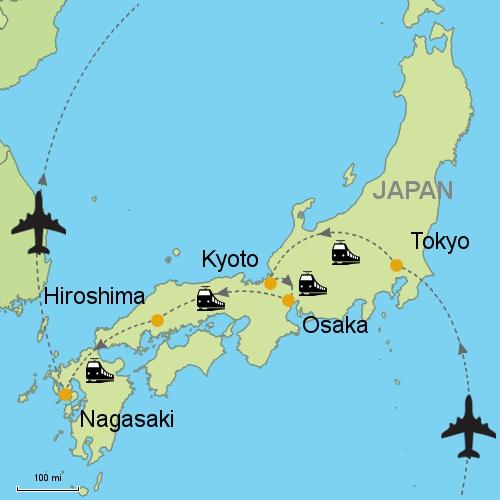 Nagasaki On World Map.Tokyo Kyoto Osaka Hiroshima Nagasaki By Rail Customizable
