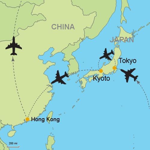 Tokyo - Kyoto - Hong Kong on calicut world map, jakarta on world map, beijing on world map, nagasaki on world map, malacca on world map, mecca on world map, gobi desert on world map, luanda on world map, osaka on world map, lima on world map, okinawa on world map, philadelphia on world map, mombasa on world map, xian on world map, hokkaido on world map, annam on world map, agra on world map, canton on world map, lhasa on world map, lisbon on world map,