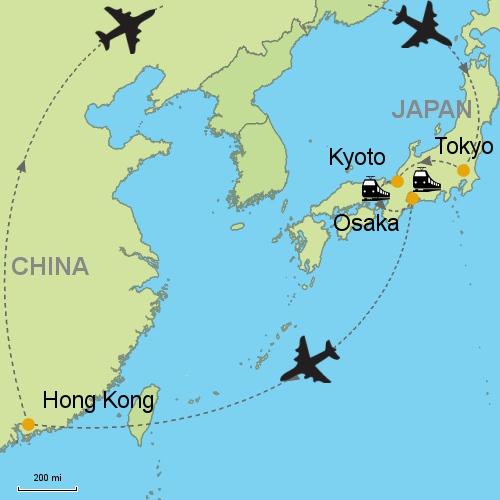 Tokyo kyoto osaka hong kong customizable itinerary from asia map tokyo kyoto osaka hong kong gumiabroncs Choice Image