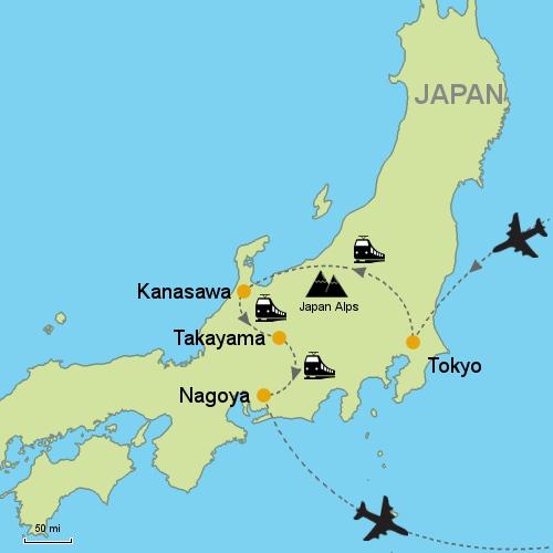 Tokyo Kanazawa Takayama Nagoya by Rail Customizable Itinerary