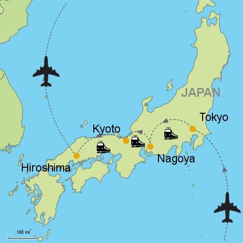 Tokyo Nagoya Kyoto Hiroshima By Rail Customizable Itinerary - Japan map hiroshima