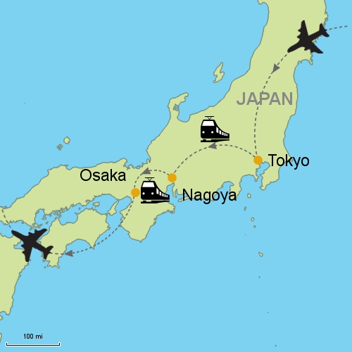 Tokyo Nagoya Osaka By Rail Customizable Itinerary From Asia - Japan map nagoya