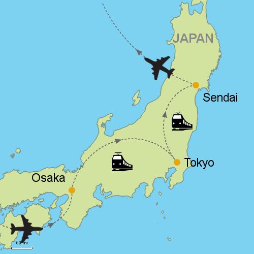 Osaka Tokyo Sendai by Rail Customizable Itinerary from Asia