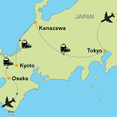 Tokyo Kanazawa Kyoto By Rail Customizable Itinerary From Asia - Japan map kanazawa