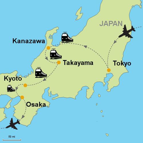Tokyo Kanazawa Takayama Kyoto By Rail Customizable Itinerary - Japan map kanazawa