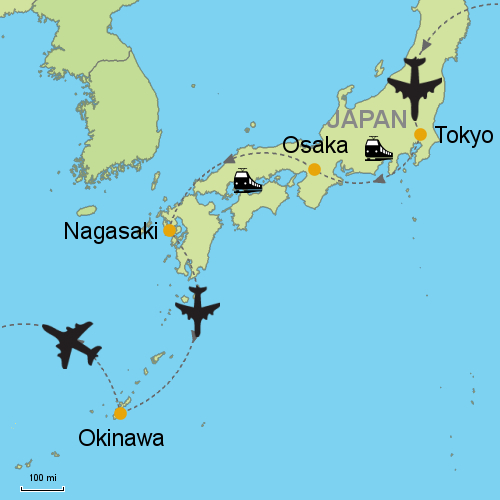 Nagasaki On World Map.Tokyo Osaka Nagasaki Okinawa Customizable Itinerary From Asia